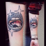 Forearm World Lips tattoo