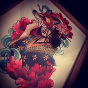 Fox Mask Girl Tattoo idea