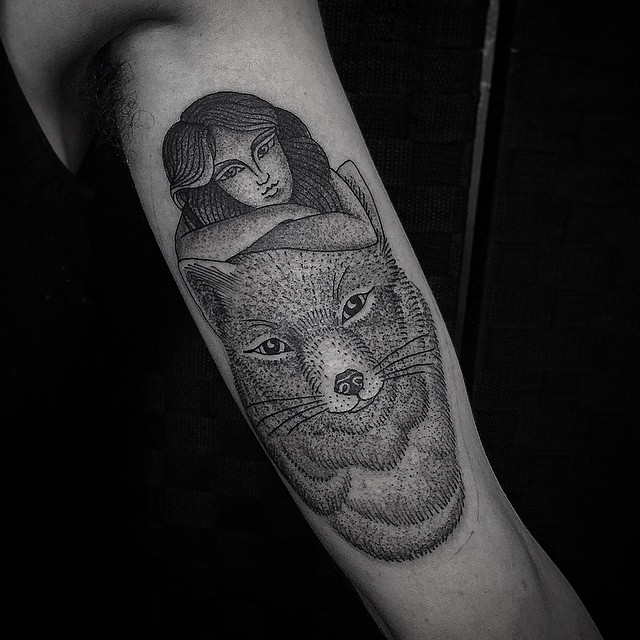 Foxy Lady Foxy Fox Dotwork tattoo by Jimmy Memento Tattoo