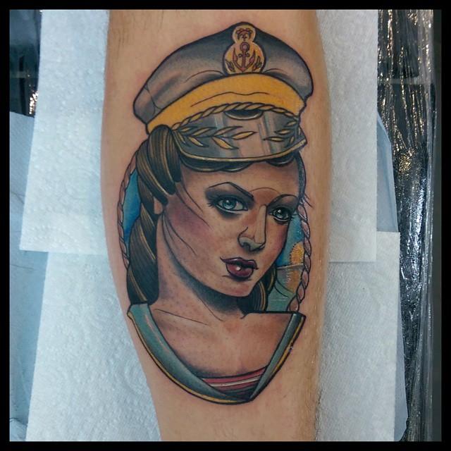 Girl Sailor Arm tattoo