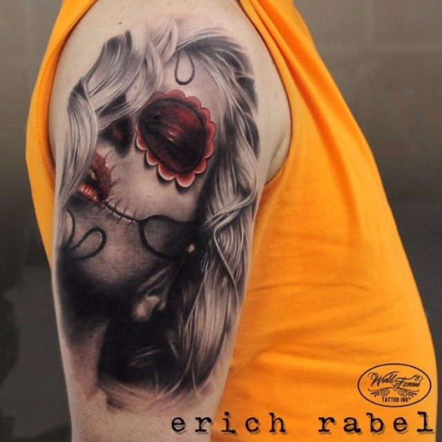 Girl Santa Muerte tattoo by Erich Rabel