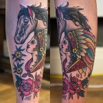 Girl with Horse Indian tattoo on Leg