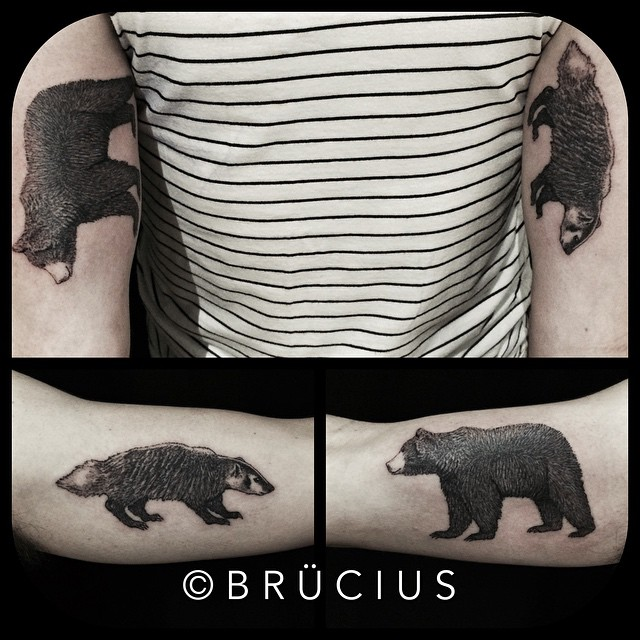 Graphic Bear and Badger Arm tattoos by BRÜCIUS
