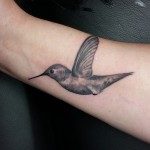 Graphic Colibri Small Tattoo on Wrist by Delan Canclini