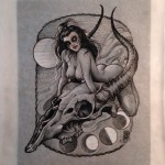Graphic Goat Skull Girl tattoo idea by Jason Minauro