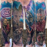 Guardians of The Galaxy tattoo sleeve by Tony Sklepic