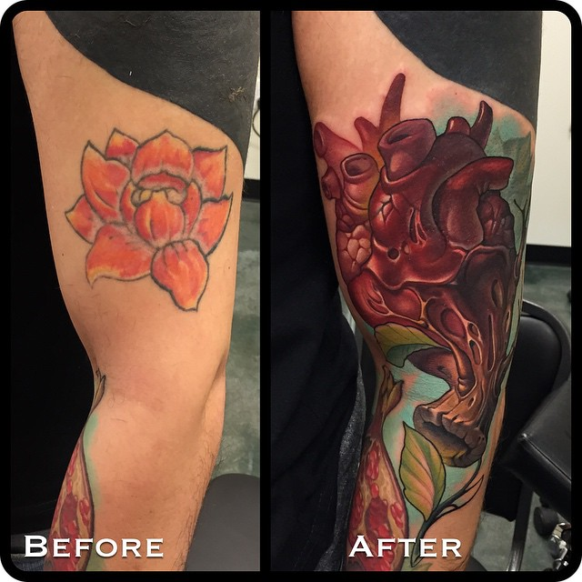 Heart New School Cover Up Arm tattoo by Timmy B