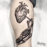 Heart Drum Dotwork tattoo on Leg