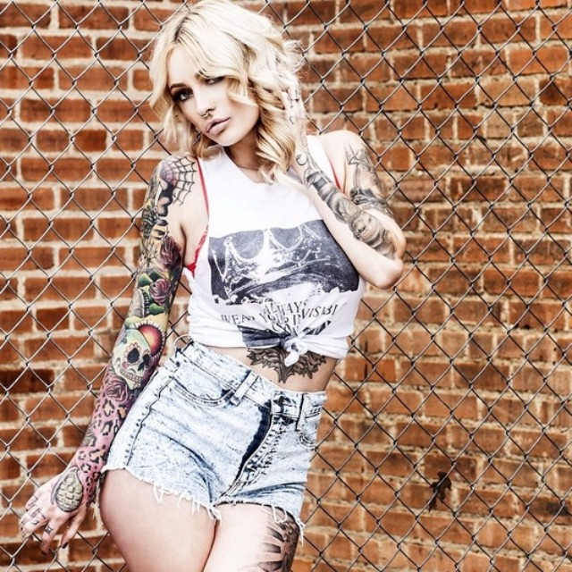 Hot Blonde Brittany Britton and her tattoos