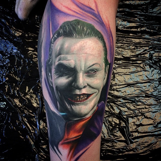 Jack Nicholson Joker tattoo by Max Pniewski