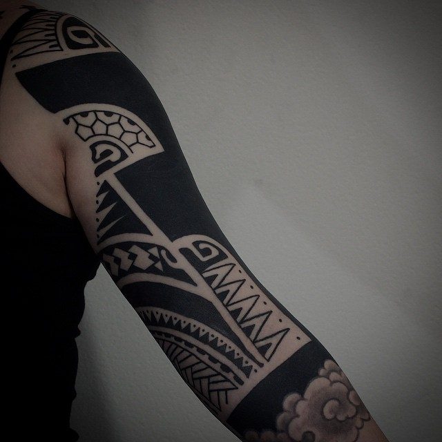 Japanese Style Related Blackwork tattoo sleeve by Gotch Tattoo