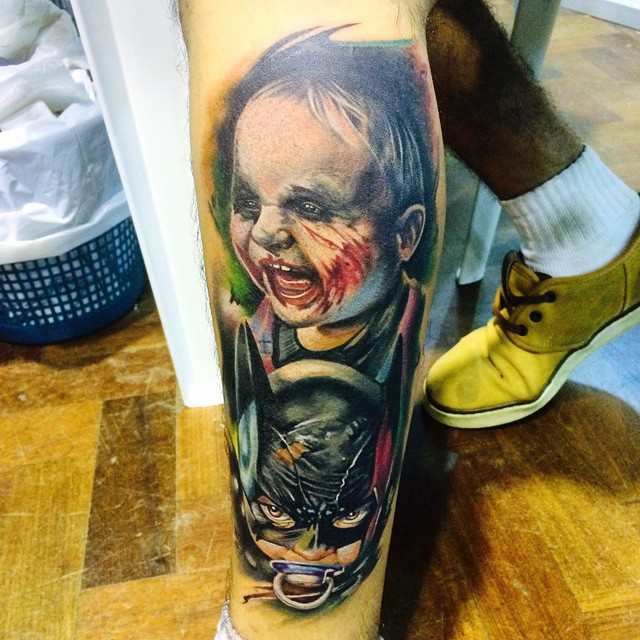 Kids Joker and Catwoman on Leg