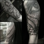 Labyrinth Realistic Eye Half Sleeve tattoo by Paul Davies