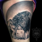 Lions in Love Graphic Shoulder tattoo by Bullet BG