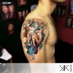 Love Passion Watercolor Shoulder tattoo by Koray Karagözler
