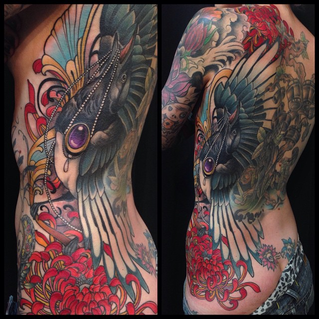 Magpie Thief Back tattoo by Delan Canclini