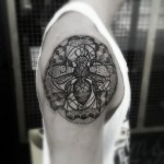 Manchester Bee Dotwork tattoo by Paul Davies