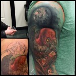 Moon Hourglass Vulture Cover Up tattoo by Timmy B