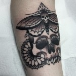 Moth Skull and Flowers