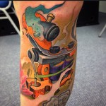 New School Tattoo Machine tattoo by Victor Chil