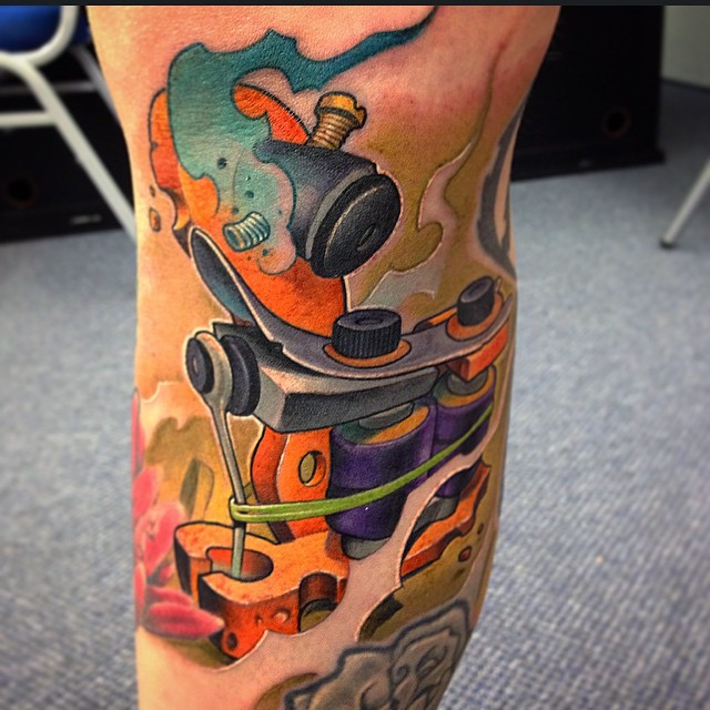 new school tattoo machine tattoo by victor chil best
