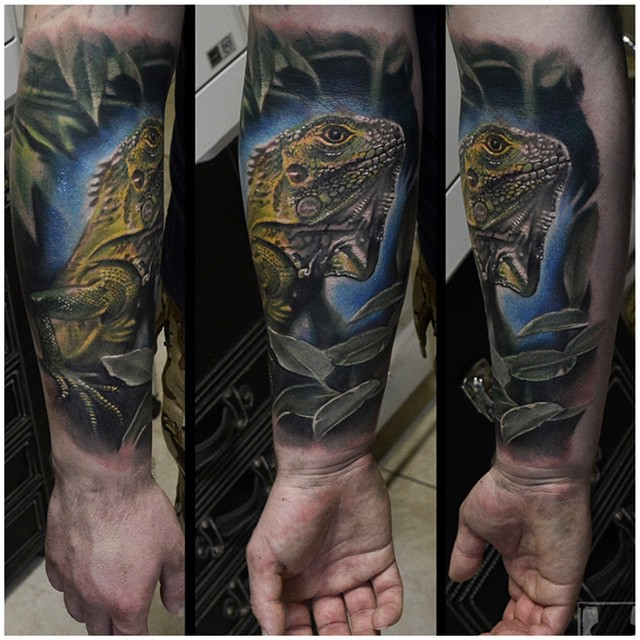 Night Realistic Chameleon on Arm