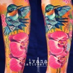 Orchids Hummingbird tattoo