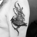 Paintbrush Bird Mill Shoulder tattoo