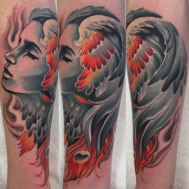 Phoenix Girl Face Tattoo on Arm