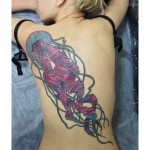 Pink Jellyfish Back tattoo
