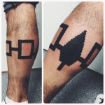 Pixel Leaf Blackwork Leg tattoo by Thomas Sinnamond