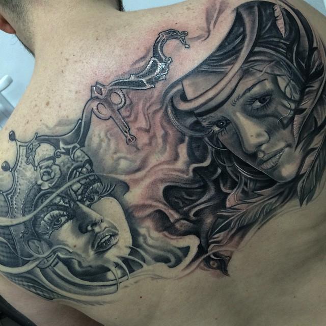 Queen and Warrior Girls tattoo by Tattoo Dejan Slovenia
