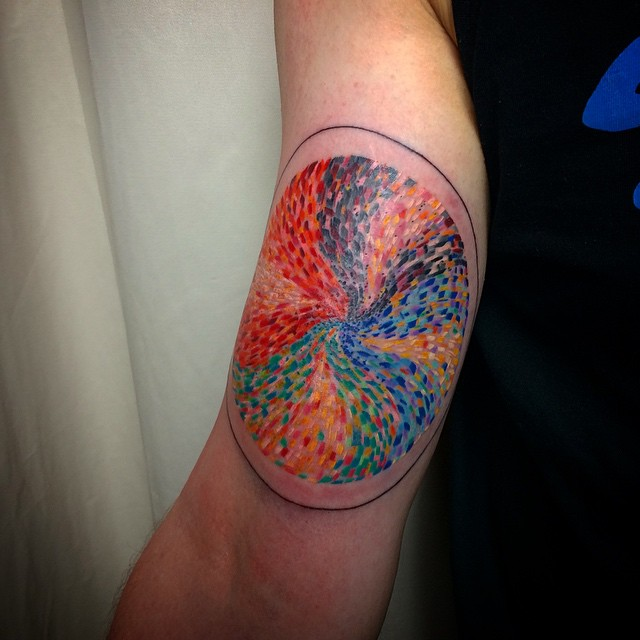 Rainbow Paint Pizza Forearm tattoo