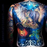 Realistic Owl Full Back tattoo