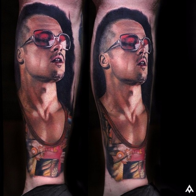 Realistic Tyler Fight Club tattoo