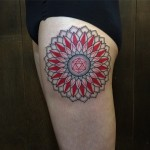 Red Petals Maldala tattoo on Thigh