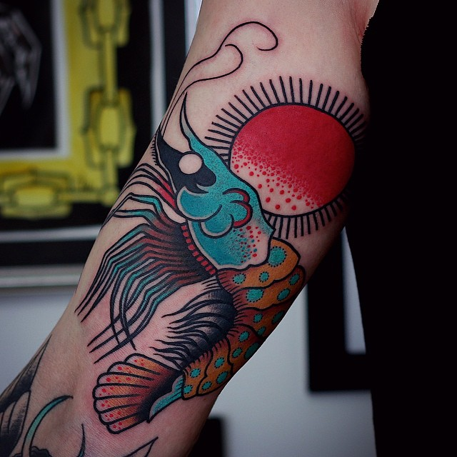 Red Sun Shrimp tattoo on Arm