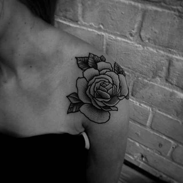 Rose Bud Shoulder Dotwork tattoo