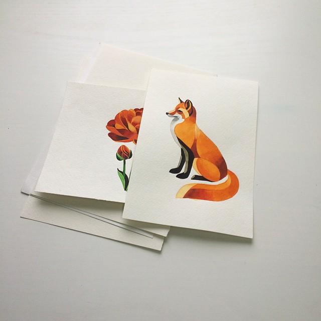 Rose and Fox tattoo ideas by Sasha Unisex