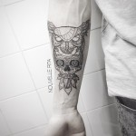 Santa Muerte Skull and Owl on Arm
