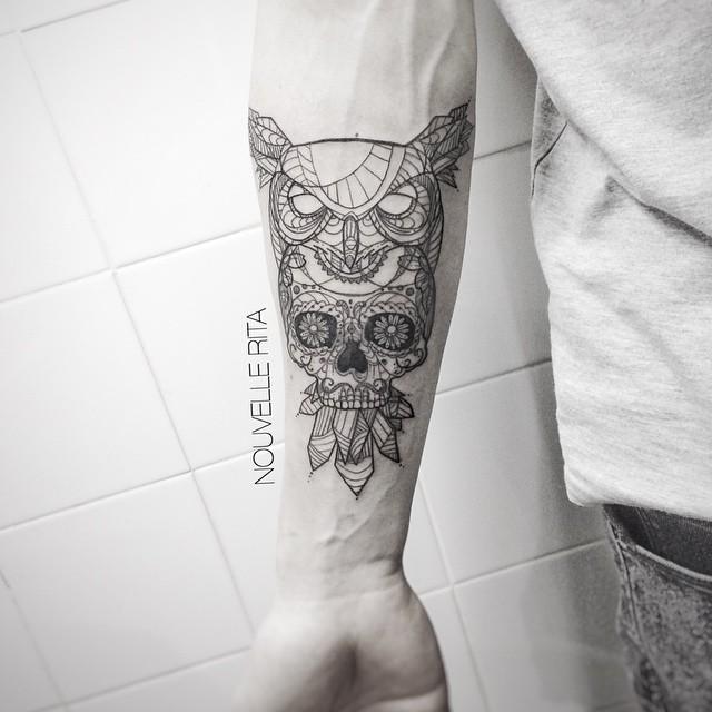 Santa Muerte Skull and Owl on Arm