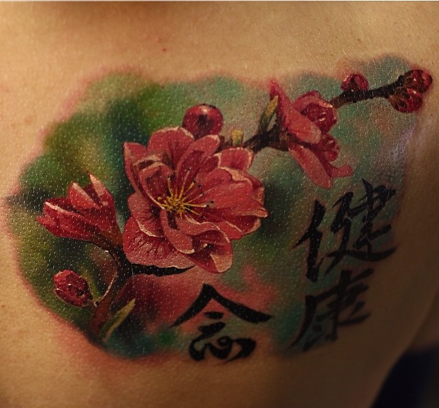 Shoulder Blade Sakura tattoo