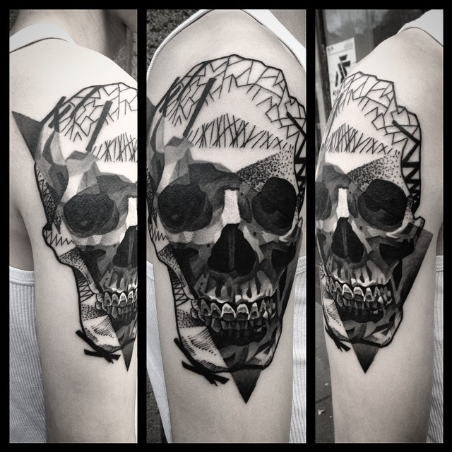 Shoulder Dark Skull Dotwork tattoo