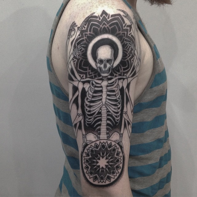 Skeleton on Shoulder Dotwork tattoo