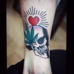 Skull Canabis Wrist tattoo
