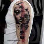 Skull Trash Polka Shoulder tattoo