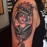 Smoking Girl Sailor Nautical tattoo by Hugh Sheldon