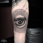 Sun Eye Dotwork on Arm