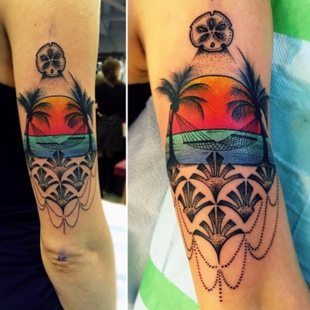 Sunset Beach tattoo by Katie Shocrylas