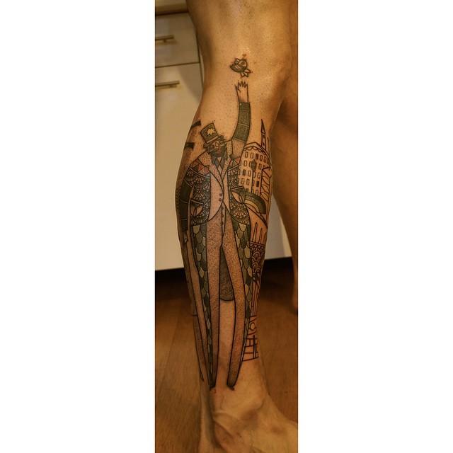 Tall Man Dotwork Leg Tattoo by Noon Kamikaz